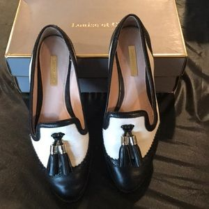Louise et Cie black and white loafers gently used